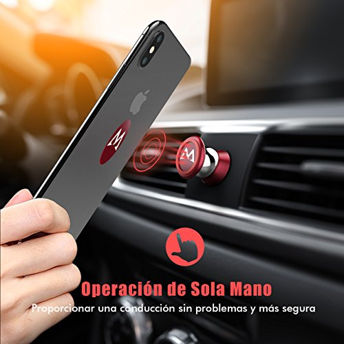 Soporte Magnético con Pegatinas Metalicas, Mpow Iman Móvil para Salpicadero de Coche Car Mount Metálico 360° Rotación Compatible con Cualquier Superficie Limpiado para iPhoneX/ 8/ 7/ 7s 6 Plus, Samsung, Galaxy S8, Xiaomi, Huawei y ect.