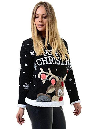 *Fast Fashion Frauen Weihnachtspullover Lange Ärmel Star Rudolph Drucken Neuheit*