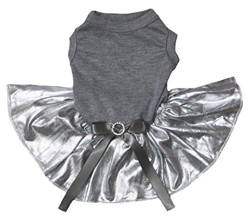 petitebelle Uni Grau Baumwolle Shirt Bling Silber Tutu Hund Kleid