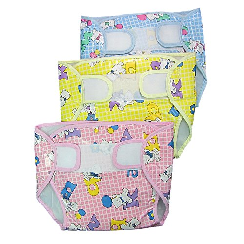 EIO Baby Infant Washable Reusable Pocket Nappy Diaper Covers with Inserts (Pack of 3)