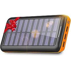 KEDRON Batterie Externe, 24000 mAh Chargeur Solaire Power Bank avec Deux Entrées et 3 Ports Haute Vitesse de Charge Portable pour Smartphones ...