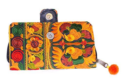 Pacific - portamonete donna , portafoglio,fatto a mano (azzurro) arancio