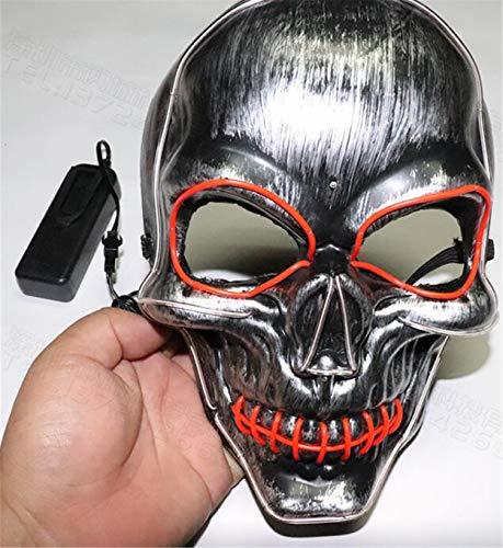 Halloween-Maske, kaltes Licht des Schädel-Glühen-Gesichts-LED, Maskerade-Make-upfeiertags-Geschenk-Atmosphäre-kühler Backen-Schleier Silver