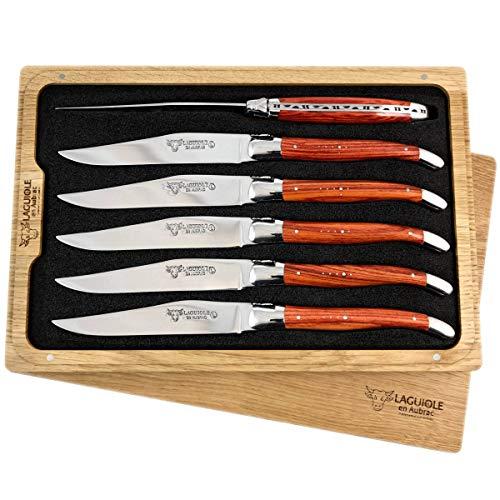 Laguiole en Aubrac 6 Couteau à Steak forgé en Bois de Rose
