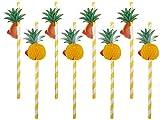 Strohhalm 3D Cocktail Trinkhalm groß 8er Set Papier-Strohhalme 18 cm mit Früchten, Beachparty, Karibik, Strand Dekoration, Cocktail-Strohhalme, 500175 von Alsino