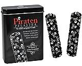 20 Pflaster mit Piraten - Totenkopf Motiv in Metall Box - Pflasterbox Dose Kinderpflaster schwarz Pirat