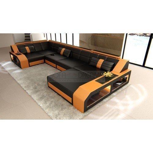 Garniture de Canapé AREZZO forme U Noir - orange design intérieur de la maison