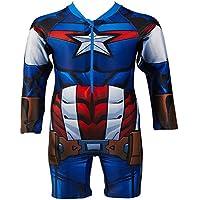 JLWF Chicos Traje De Baño Avengers Estados Unidos Capitán Siamés Niños De Manga Larga Traje De Baño SPA Resort Captain America-10