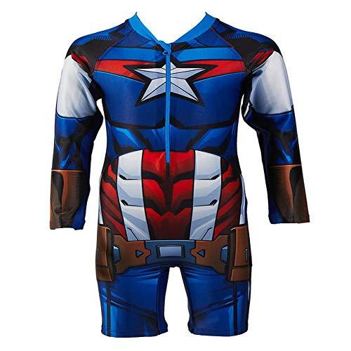 JLWF Chicos Traje De Baño Avengers Estados Unidos Capitán Siamés Niños De Manga Larga Traje De Baño...