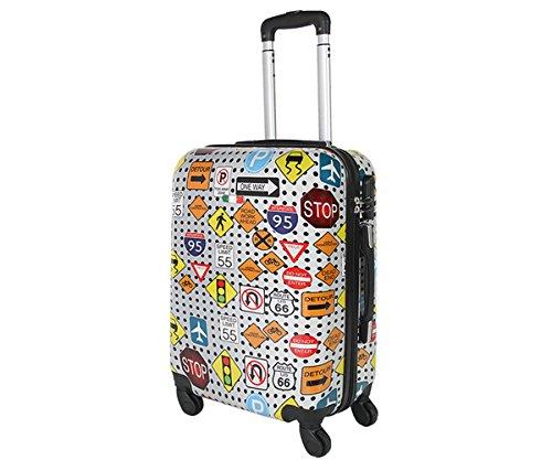 Trolley da cabina 50 cm valigia rigida 4 ruote in abs policarbonato stampato a fantasia antigraffio e impermeabile compatibile voli lowcost come Easyjet Rayanair art segnali stradali