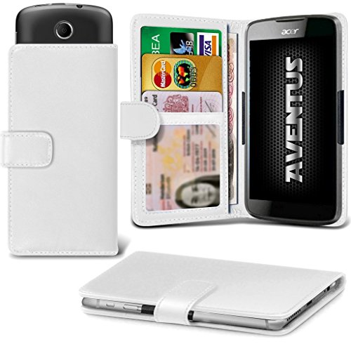 Aventus (Weiß) Acer Liquid Z320 Premium-PU-Leder Universal Hülle Spring Clamp-Mappen-Kasten mit Kamera Slide, Karten-Slot-Halter und Banknoten Taschen