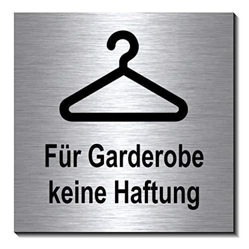 Garderobe keine Haftung 100 x 100 x 3 mm-Aluminium Edelstahloptik silber mattgebürstet Hinweisschild-1910-68
