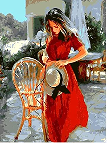 OBELLA Painting by Numbers Kits || Beautiful red Dress Woman 50 x 40 cm || Paint by Numbers, Digital Oil Painting,