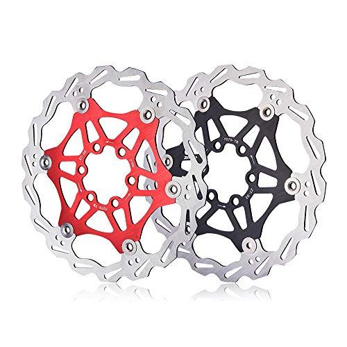 Fahrradbremsscheibe Schwimmende Bremsscheibe 6 Schrauben Aluminiumlegierung Fahrrad Bremsscheibe for Die Meisten Fahrrad Rennrad Mountainbike BMX MTB 160mm Pad Einsteller Bremse Rot Schwarz Bremsschei
