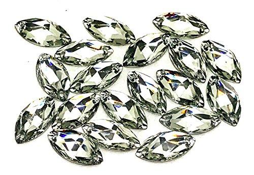Kunstharz-Kristalle in Pferdeaugenform von Eimass, zum Aufnähen oder Aufkleben, mit flacher Unterseite, zum Verschönern von Kostümen, Taschen, Kleidung, Lernprojekten, Packung mit 50 Stück, clear crystal, 11 x 24mm