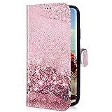 Uposao Kompatibel mit Samsung Galaxy A20 / A30 Hülle mit Bunt Muster Motiv Brieftasche Handyhülle Leder Schutzhülle Klappbar Wallet Tasche Flip Case Ständer Ledertasche Magnet,Rose Gold