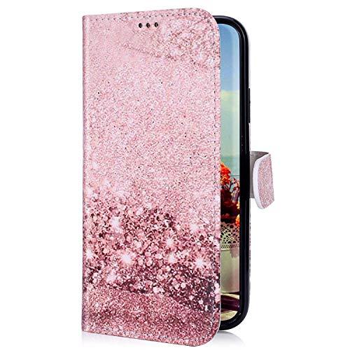 Uposao Kompatibel mit Samsung Galaxy M20 Hülle mit Bunt Muster Motiv Brieftasche Handyhülle Leder Schutzhülle Klappbar Wallet Tasche Flip Case Ständer Ledertasche Magnet,Rose Gold