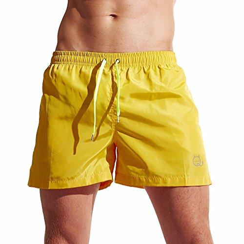 Herren Shorts, Sunday Badehose Quick Dry Beach Surfing Laufen Schwimmen Watershort Outdoor Sports Kurze Hose (L, Gelb) -