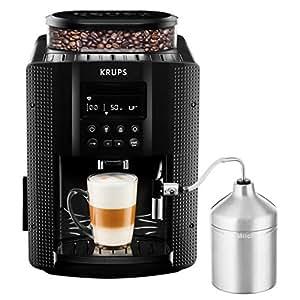 Krups EA816031 Machine à Café Automatique avec Broyeur à Grains Essential Ecran LCD avec Mousseur à Lait Pot Inox Cafetière Café Grains Pression 15 Bars Thermoblock Cappuccino Espresso Noir