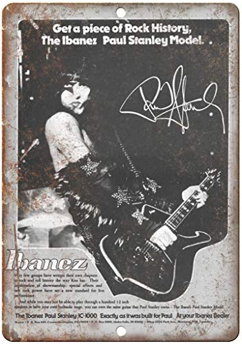 Ibanez Guitar Paul Stanley Metall Blechschild Retro Metall gemalt Kunst Poster Dekoration Plaque Warnung Bar Cafe Garage Party Game Room Hauptdekoration