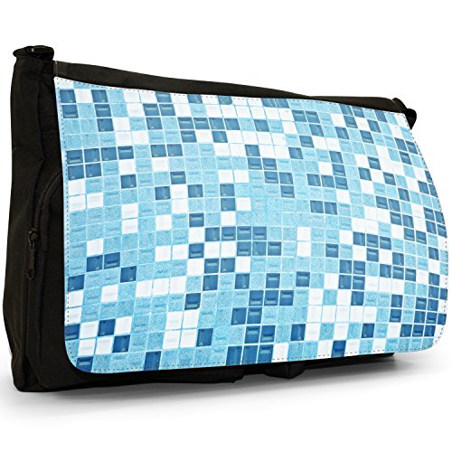 Fancy A Bag Borsa Messenger nero Abstract Reflections Blue White Mosaic Tile Pattern