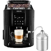 Krups EA816031 Expresso Broyeur à Grains Essential Noire Ecran LCD avec Pot à Lait Inox