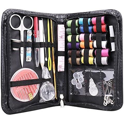 Multifuncional Kit de costura Accesorios de costura 38juegos con tapa para casa, viaje, Camper y emergencias
