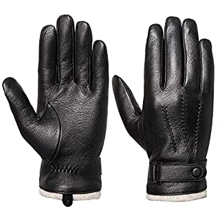 Men's Touchscreen Genuine Leather Gloves - Acdyion Cashmere Lining & Cashmere Cuff Gloves Outdoor Driving Winter Warm Mittens Luxury leather Gifts, Black, L