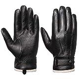 Acdyion Herren Winter Lederhandschuhe Touchscreen geeignet Wollfutter Handschuhe aus Echtleder (L)