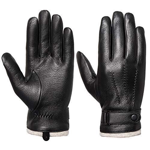 Acdyion Herren Winter Lederhandschuhe Touchscreen geeignet Wollfutter Handschuhe aus Echtleder, Schwarz, (XL)
