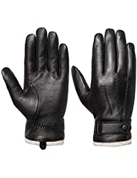 Men's Touchscreen Genuine Leather Gloves - Acdyion Cashmere Lining & Cashmere Cuff Gloves Outdoor Driving Winter Warm Mittens Luxury leather Gifts