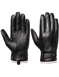 Acdyion Herren Winter Lederhandschuhe Touchscreen geeignet Wollfutter Handschuhe aus Echtleder