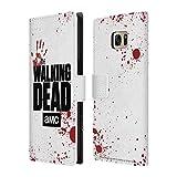 Head Case Designs Offizielle AMC The Walking Dead Weiss Logo Brieftasche Handyhülle aus Leder für Samsung Galaxy S7 Edge