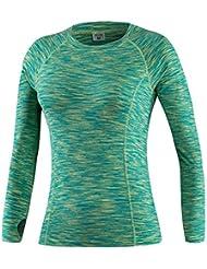 La Sra ajustado de manga larga que absorbe la carrera de entrenamiento de fitness y deportes manga larga vestido elástico 5019 , green , xxl