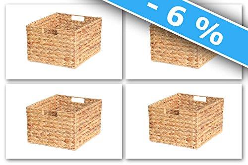Ikea Molger Regal Korb 30 x 21 x 37 cm aus Wasserhyazinthe Natur Faltkorb Flechtkorb Regalbox Storage Box Aufbewahrungskorb Schrankkorb klappbar faltbar und sehr stabil 4er-Set Sparpreis