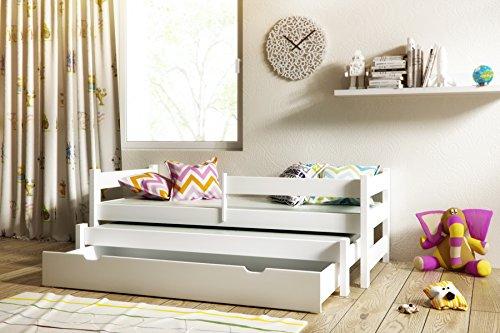 Tandembett Paul Jugendbett Ausziehbett Kojenbett 200x90 Massivholz mit Schublade und Lattenroste (Weiß)