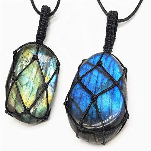 Shenghaotai Multicolor Labradorite Halskette Naturstein Pendant Wrap Braid Halskette Yoga Macrame Halskette für Männer Frauen Energiekette(None Pure Natural) -