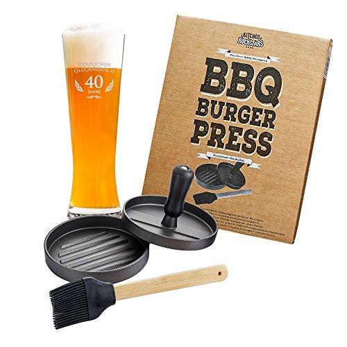Casa Vivente - Grill-Set - Burgerpresse und Weizenglas mit Gravur - Herzlichen Glückwunsch 40 Jahre - Patty-Maker aus Aluminium - Weißbierglas aus Klarglas - Geburtstagsgeschenke
