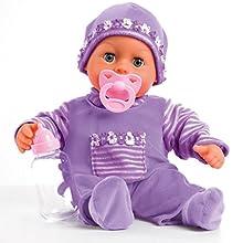 Bayer Design 93800-lila - Babypuppe First Words mit Schlafaugen, 24 Babylaute, 38 cm, lila