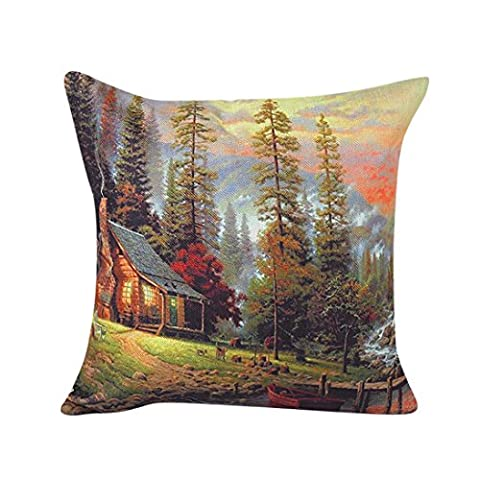 fineshow Colorful Scenery Muster Schlafcouch Home Decor Kissenbezug, Baumwollstoff, 3, 45 cm*45 cm