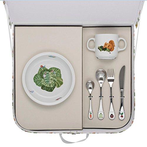 Valisette assiette creuse ronde + mug + 4 couverts LES AMIS DU POTAGER