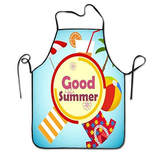 RGFJJE Funny Personality Apron Banner Good Summer Summer time Palm Glass Juice Towel Hawaiian Beach Ball Beach Umbrella Blue Chef Kitchen Aprons 20.4 * 28.3 inch