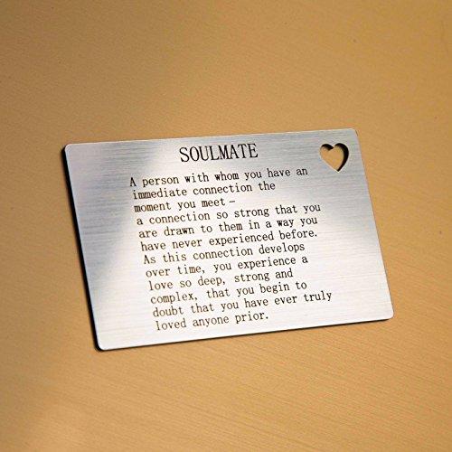 Targhetta in stile biglietto da visita con scritta in inglese motivo anima gemella, idea regalo per lui/lei, con cuoricino intagliato