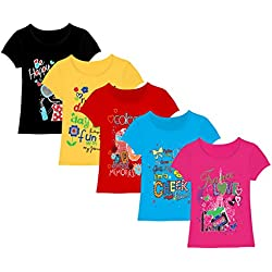 Kiddeo kids girls t shirts (pack of 5) (7-8 Years)