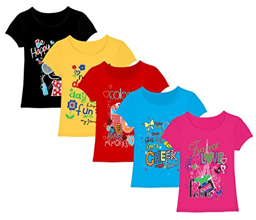 Kiddeo Kids Girls t Shirts (Pack of 5) (7-8 Years)