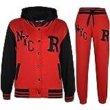 A2Z 4Kids - Tuta da baseball, logo NYC Fox, giacca con cappuccio e pantaloni sportivi, unisex, per bambini da 2a 13anni NYC Red & Black 8 anni
