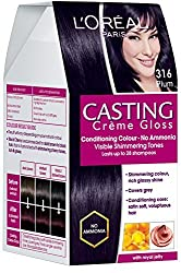 LOreal Paris Casting Creme Gloss, Plum/Burgundy 316, 87.5g+72ml with Ayur Product in Combo