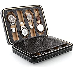 Amzdeal Luxury Watch Storage Display Box 8 Grids with delicate patterns gentle Faux Leather inside(delicate black pattern)
