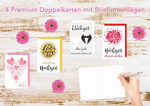 Set 4 exklusive Hochzeitskarten mit Umschlag. Glückwunschkarte Grusskarte zur Hochzeit. Hochzeitskarte Karte (Doppelkarten/Klappkarten mit Briefumschlag)