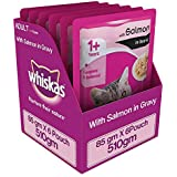 Whiskas Wet Meal Adult Cat Food, Salmon in Gravy, 85 g Pouch (Pack of 6)